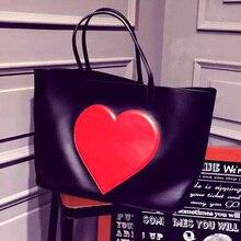 pu leather black composite bag handbag for women big jumbo bags high quality neverful totes bags shopping beach bag with hearts