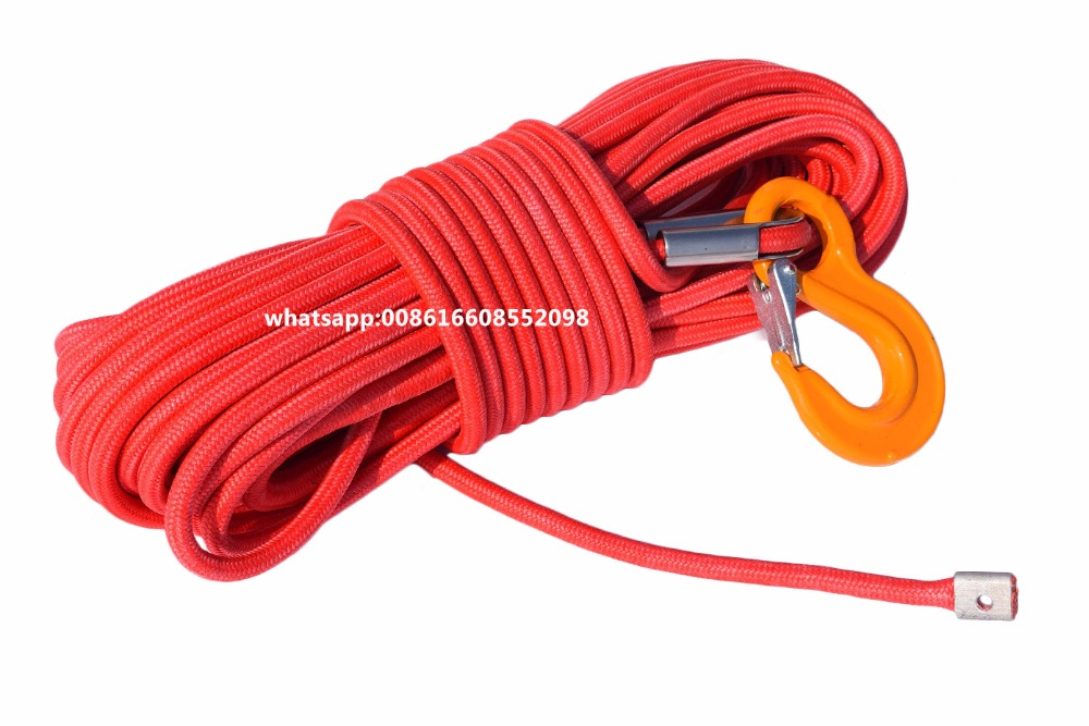 Red 12mm*30m Double Braied Synthetic Rope,UHMWPE Core with UHMWPE Plasma Winch Rope,Winch Line