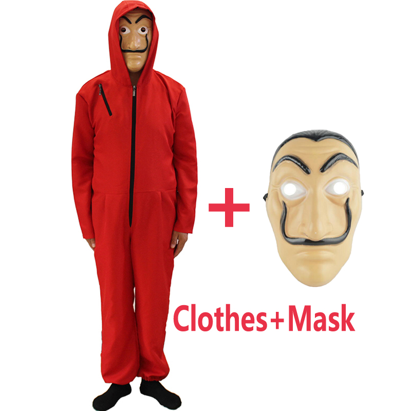 2018 Halloween Party Cosplay Costumes Salvador Dali Movie Costume Money Heist The House of Paper La Casa De Papel with Face Mask