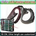 Display LED linha de dados, 16 Pinos Cabo Plano Flexível 50 cm de comprimento, P3 P5 P6 P10 Single & double color Full color Sinal de linha de conexão