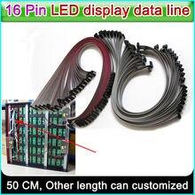 Linha de dados da tela do diodo emissor de luz, cabo liso flexível de 16 pinos comprimento de 50 cm, linha de conexão do sinal da cor completa da cor p3 p5 p6 p10 único & dobro