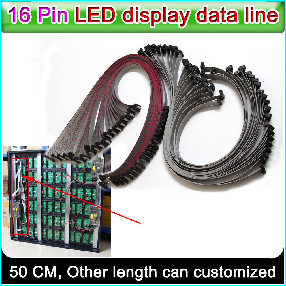 LED Display Data Line,16 Pin Flexible Flat Cable 50cm Length, P3 P5 P6 P10 Single&double Color Full Color Signal Connecting Line