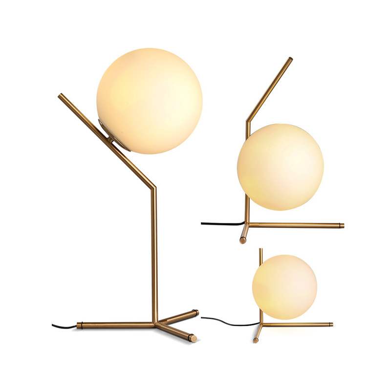 Modern Gold Glass Ball Table Lamps Desk Light for Bedroom Living Room Floor Bedside Light bedroom floor lights crystal floor lamps wedding decoration sitting room lighting modern floor lamps for living room lamp modern