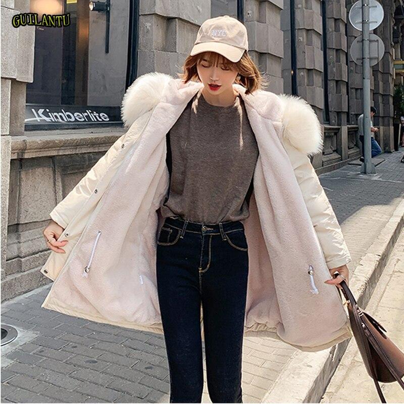 2019 kurtka zimowa kobiety pogrubienie bawełniane watowane kurtki Plus rozmiar kobiet płaszcz moda duże futro kołnierz długie parki z kapturem Mujer w Parki od Odzież damska na  Grupa 1