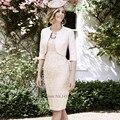 Champagne Rendas Mãe dos Vestidos de Noiva com Jaqueta de 2017 Curto Vestido de Noite Bolero Bainha Na Altura Do Joelho vestido Madrinha Pant Ternos