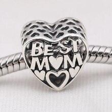 Calado mejor mamá 925 corazón Sterling amor granos de los encantos europeos Fit Pandora pulseras y collar SP00082