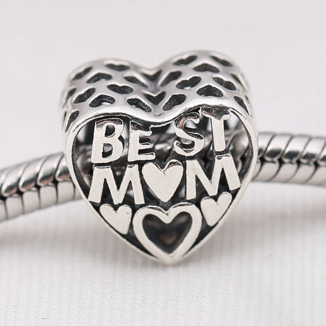 Openwork Best Mum 925 Sterling Silver Heart Love Charms European Beads Fit Pandora Bracelets &Necklace SP00082