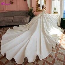 Detmgel Gorgeous Royal Train Satin A-Line Wedding Dresses 2019 Luxury Pearls Boat Neck Lace Up Princess Bridal Gowns Plus Size