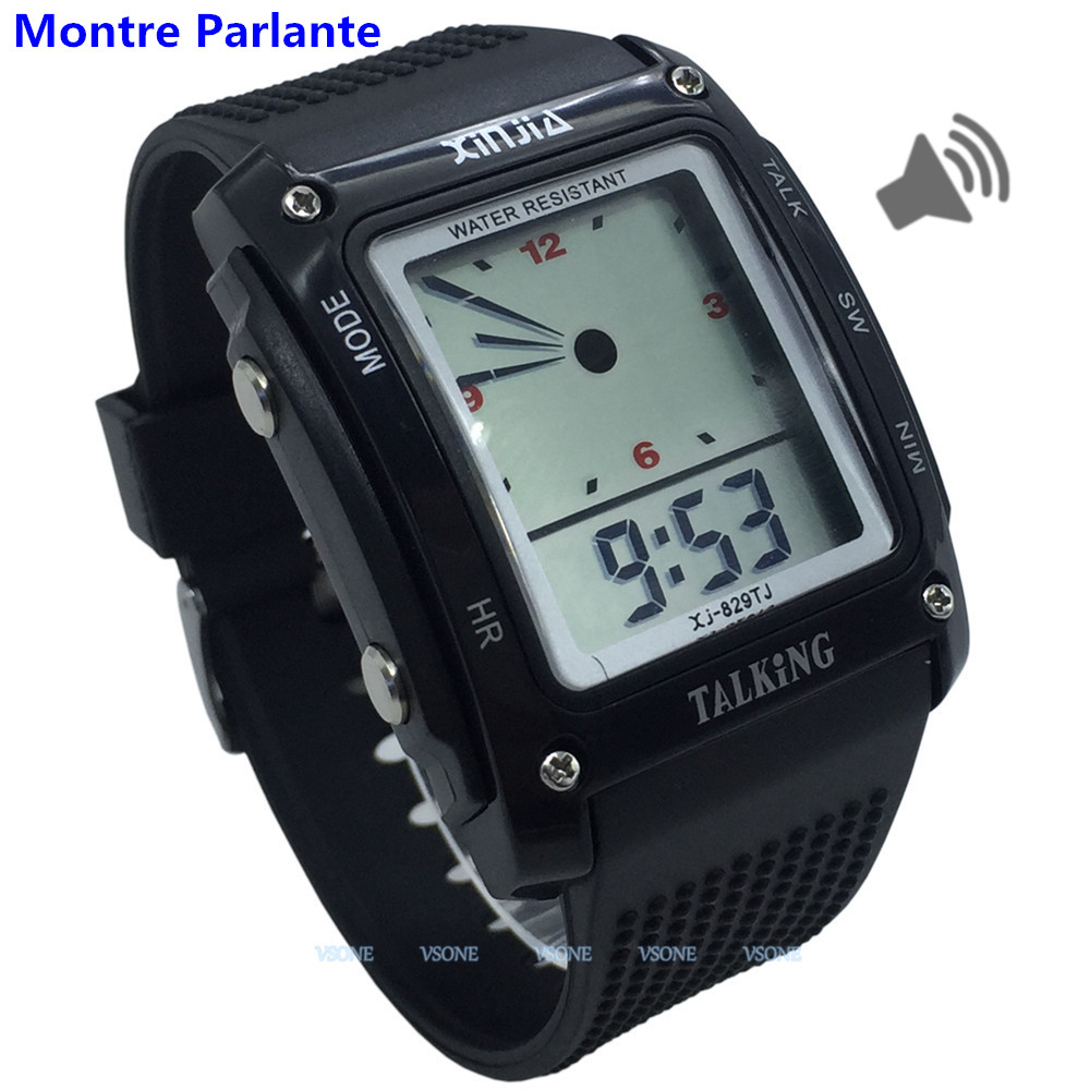 French Talking Watch For The Blind And Elderly , Digital Sports Wristatches 829TF-B