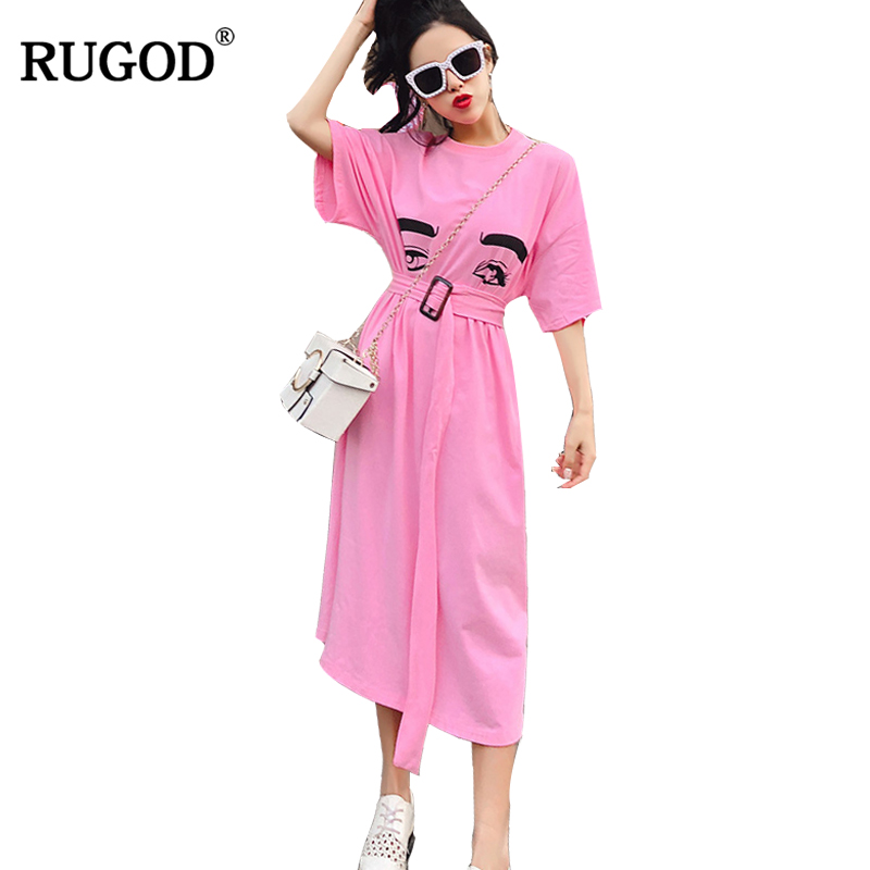 RUGOD 2018 New Arrival Casual Pink Women Dress Spring Summer Female Party Dress Short Sleeve Knitted Femme Robe with Sashes
