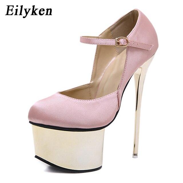 eb14ab9299ef Eilyken Black Pink Silk Women Pumps Buckle Strap Sexy 16 cm High heel  Temperament High-heeled shoes Round Toe Wedding Pumps