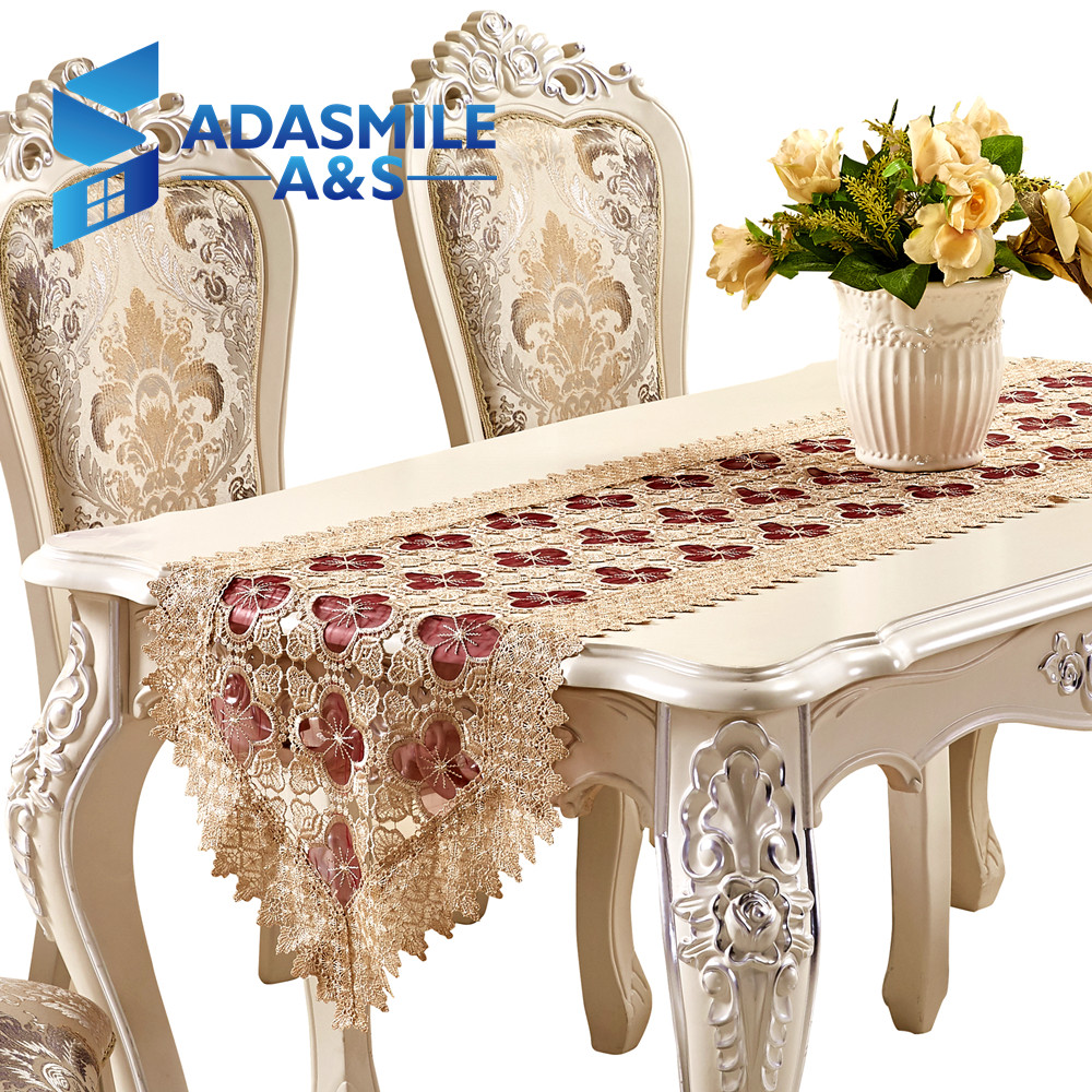 Chinese Style Design Home Decoration Embroidery Lace Table Runner Dinning Table Flag Party Wedding Table Cloth