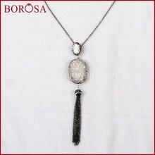 1083b9ad913c Borosa handcraft collar de perlas para las mujeres oval natural titanio AB  druzy perla con ZIRCON Pave borla collar J161