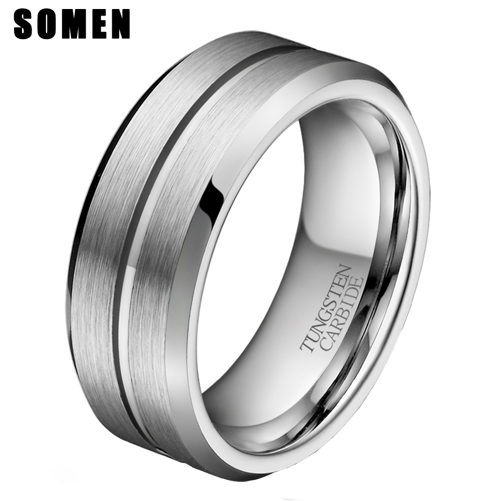 8mm Men's Silver Tungsten Carbide Ring Groove Wedding Band ...