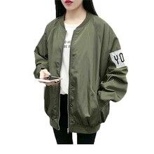 4a970308b65 2017 Korean Women Jacket Coat Fashion Bomber Jacket Oversize Women Loose Causal  Coat Army Green Coat