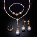 4pcs Sets Jewelry Sets Gold Plated Imitation Pearl & Crystal Brides Wedding Jewelry for Women