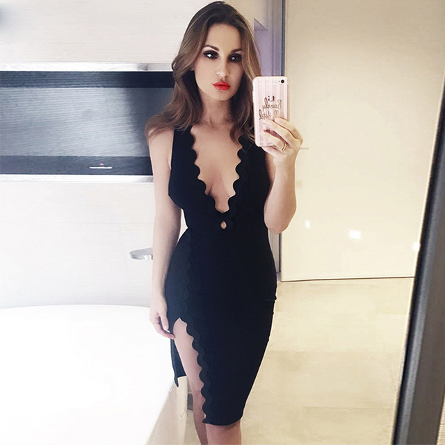 Adyce 2018 New Summer Bodycon Women Bandage Dress Sexy Black Celebrity Party Dress Elegant Deep V Neck Mini Club Dress Vestidos