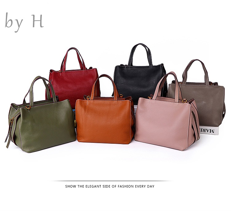 by H new 2019 new arrival cow leather big capacity handbags for Women Genuine Leather zipper  handbags Adjustable Strapby H new 2019 new arrival cow leather big capacity handbags for Women Genuine Leather zipper  handbags Adjustable Strap