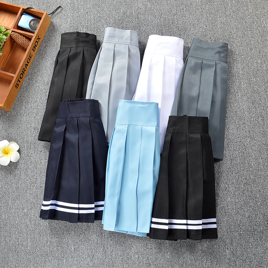 Fashion High waist Pleated skirt plaid skirt kawaii Student Girls Escape Skirts With Safety Pants Safety skirt Cosplay Costumes