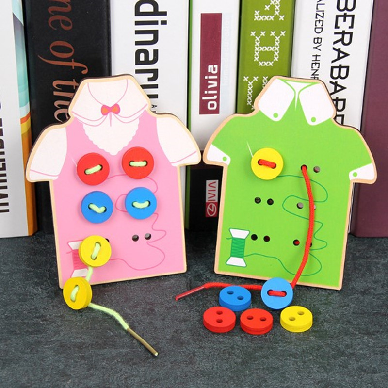 Kids Wooden Toy Children's Handmade Toys Wear Sewing Button Game Girls Hand Eye Coordination Montessori Educational LL02