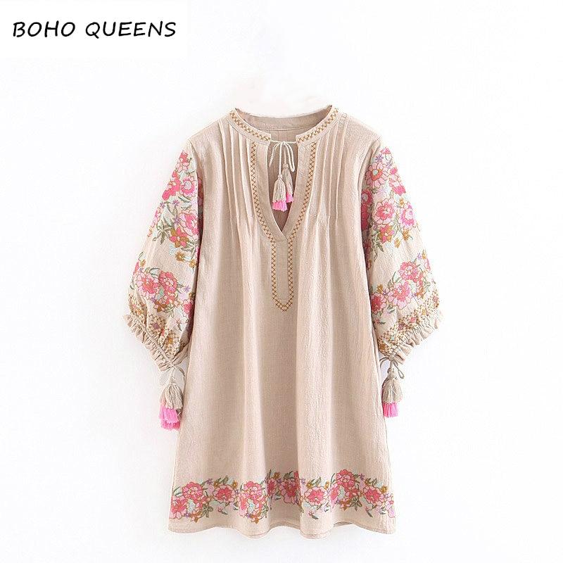 2018 vestidos dress floral print sleeve beach long Bohemian chic dresses women mini dress Ladies V