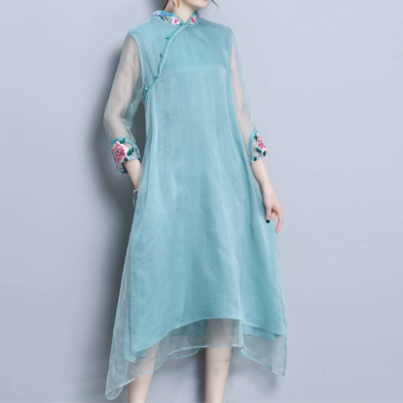 Summer dress 2018 Women Casual Beach Dress Office Lady Embroidery Organza Dress Qipao Elegant Party Dresses Vestidos S 4XL WJ88
