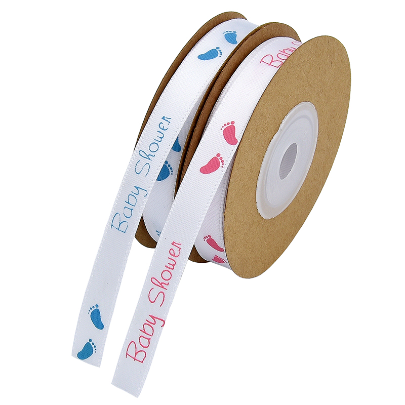 ** ROSE BLANC-BABY-Grossgrain ribbon 10m de large **