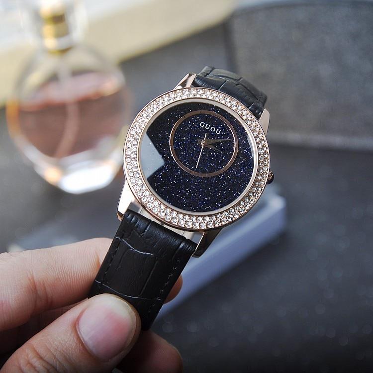 ФОТО Luxury Simple Blue Sandstone Dial Ladies Quartz Watch Women Rhinostone Watches Female Rose Gold Wristwatch Relojes Mujer OP001