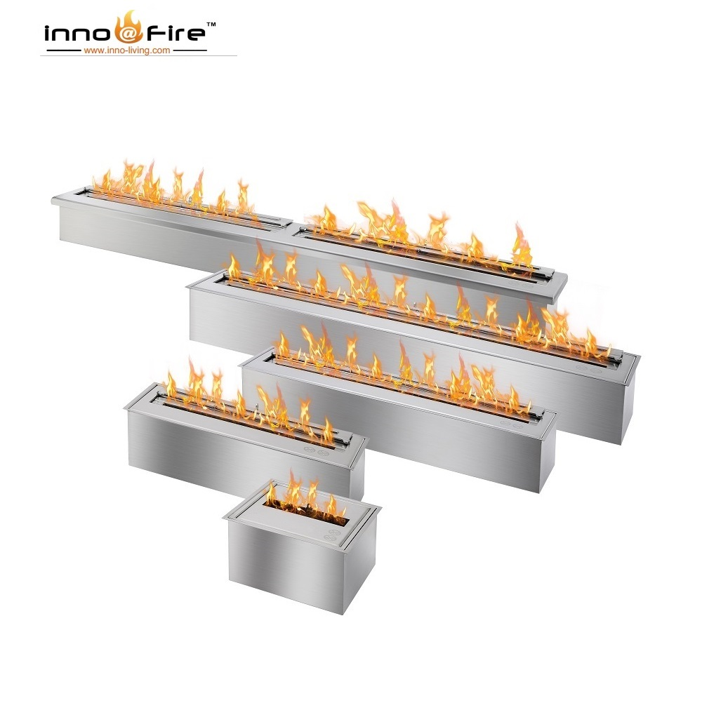 Inno Living Fire 24 Inch Stainless Manual Bio Ethanol Fireplace