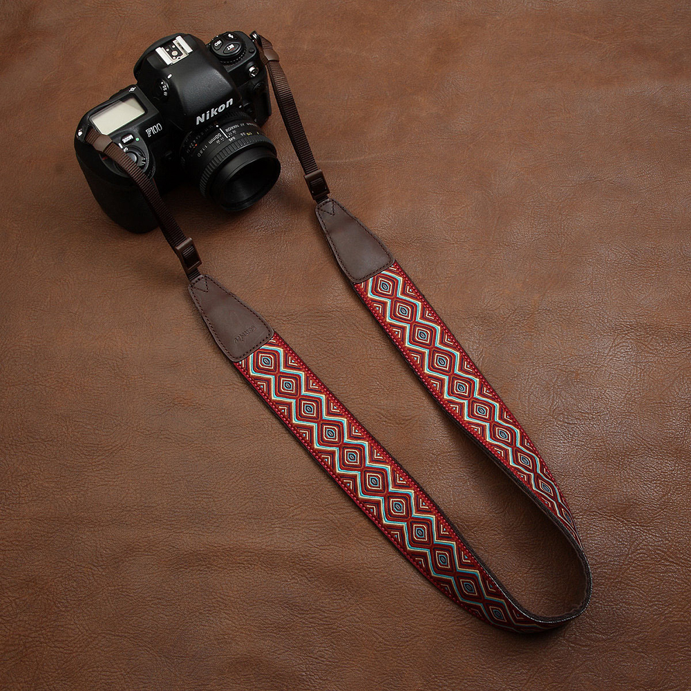cam-in CAM7416 embroidery webbing Cow Leather Universal Camera Strap Neck Shoulder Belt General Adjustable Lanyard