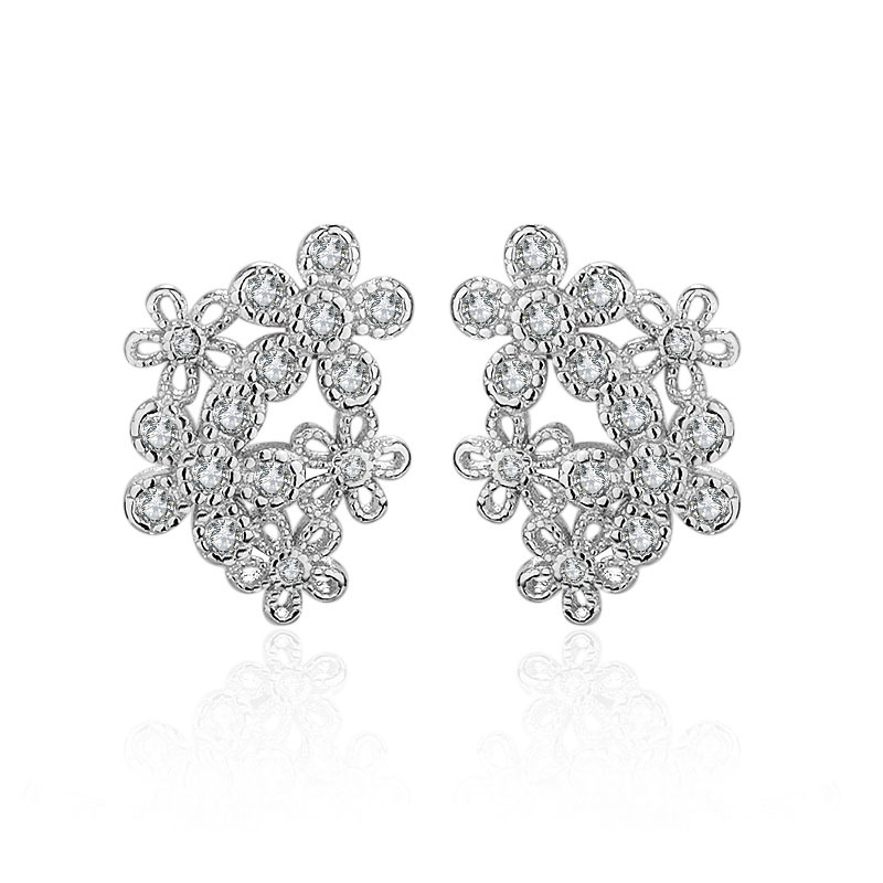 Promotion 925 sterling silver fashion shiny crystal flower women gift ladies stud earrings jewelry Anti allergy drop shipping in Stud Earrings from Jewelry Accessories