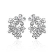 цена Promotion 925 sterling silver fashion shiny crystal flower women gift ladies`stud earrings jewelry Anti allergy drop shipping в интернет-магазинах