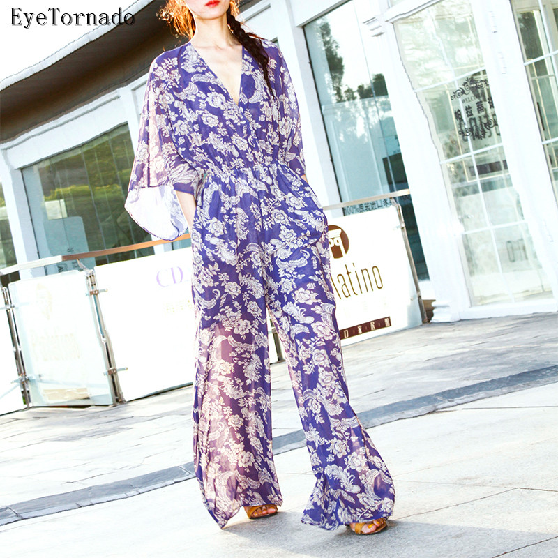 Women summer floral print batwing sleeve long casual wide leg beach bohemian chiffon jumpsuit V neck casual work pant overalls batwing sleeve button jumpsuit