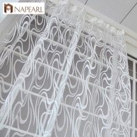 European Style Striped Jacquard Design Ready Made Sheer Curtain Drapes