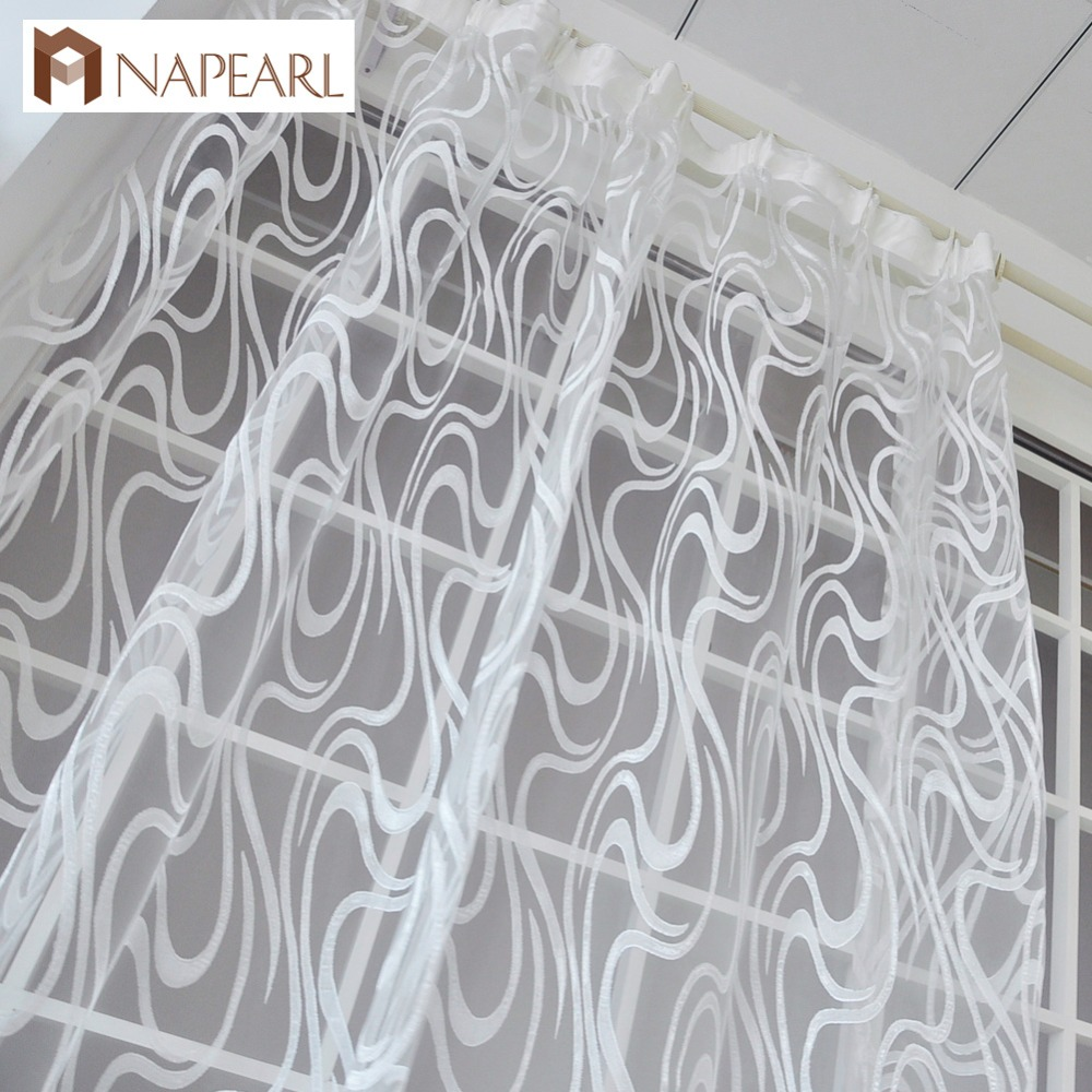 NAPEARL European Style Striped Jacquard Design Ready Made Sheer Curtains Drapes Simple Modern Tulle Organza Living Room Window