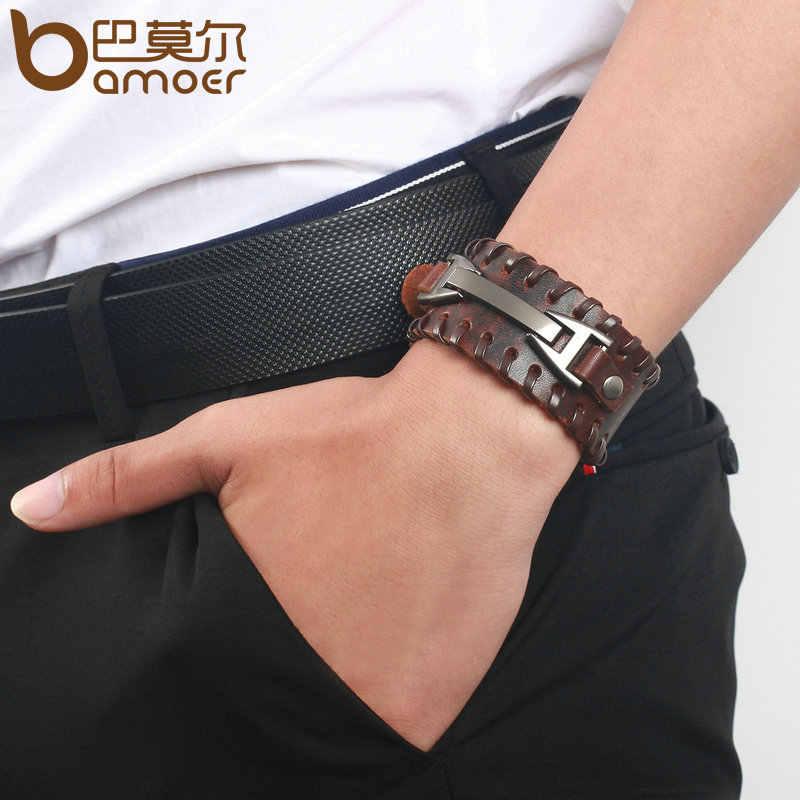 BAMOER Винтаж панк кожаный браслет 2 цвета черный и коричневый мода застежка многослойный Плетеный браслет веревка для мужчин ювелирные изделия PI0339-1