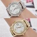Громких роскошные модные женские часы кварцевые часы браслет часы браслет из нержавеющей стали Кристалл Rhinestone женщины часы