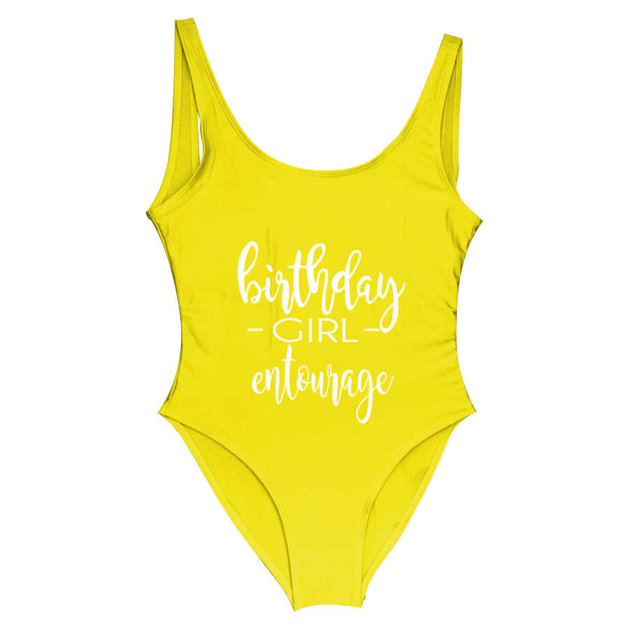 3e82aa3527 ... BRITHDAY GIRL ENTOURAGE Female Swimsuits One Piece Swimwear Birthday  Party High Cut Beachwear Bathing Suit Summer ...