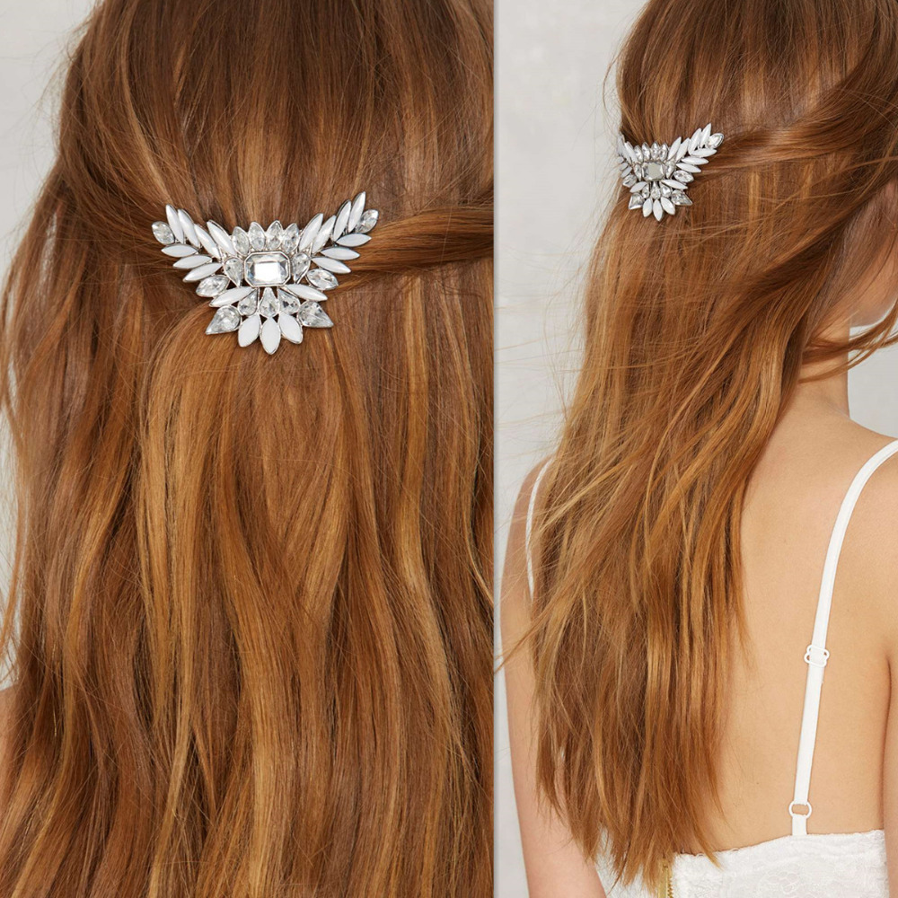 Hot Sale Fashion Women Girl Leaf Crystal Rhinestone Hair Clip Beauty Hairpin