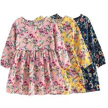Spring Summer Kids Girls  Long Sleeve Dress Flower Print Princess Dress Long Sleeve Children Clothing Baby Girls Kids Clothing