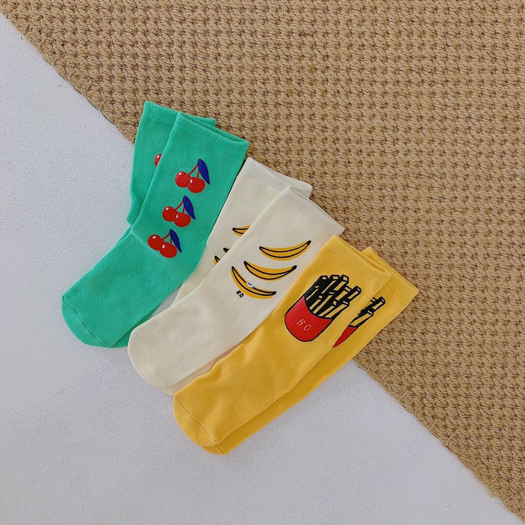Children Heelless Straight Cotton Socks Boy Girl Cherry Banana Fries Print Knee-highs Fashion Free Size Socks for Kids Boys Girl(China)