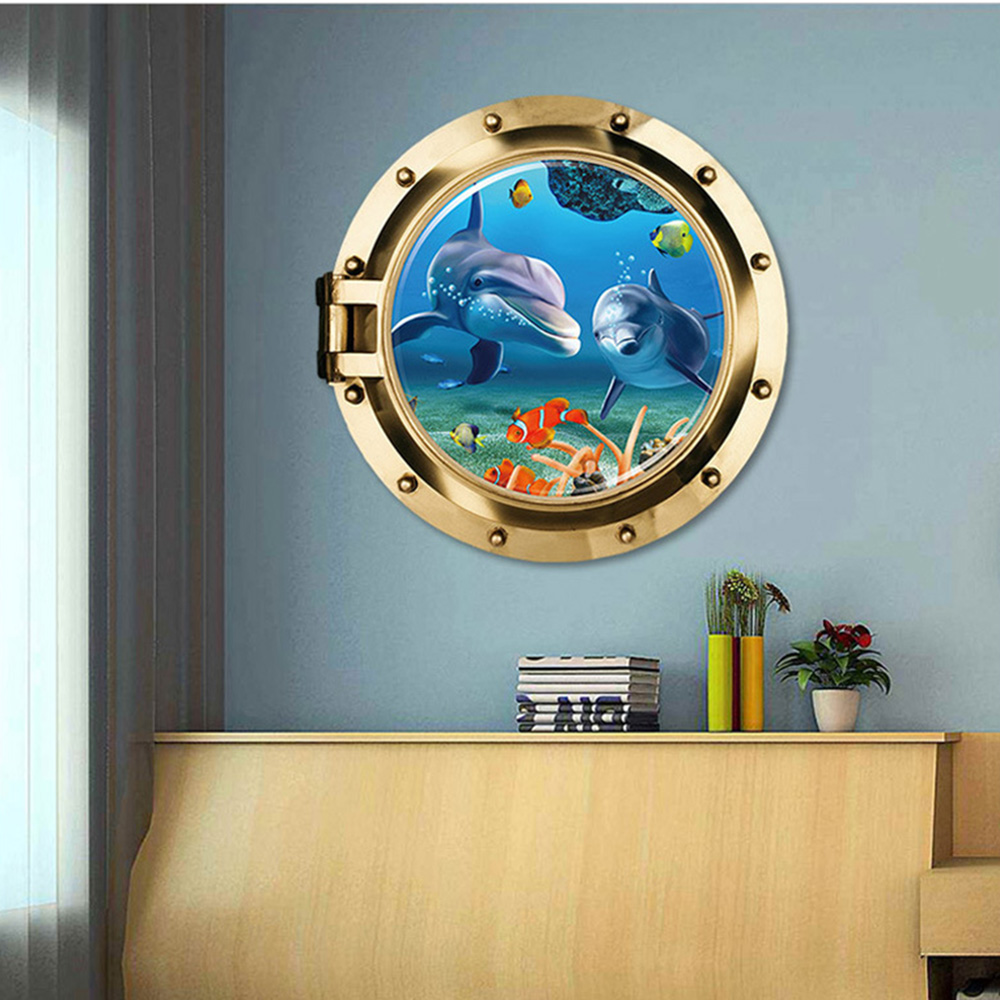 3d Sticker Ocean View Fish Window Wall Sticker Bathroom Decals Sea Portal Peel Stick Sea Cruise Wall Art for kids Home Decor