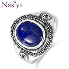 Luxury Brand High Quality Big Natural Lapis Vintage Ring For Women Men 925 Silver Fine Jewelry Party Anniversary Wedding Gift