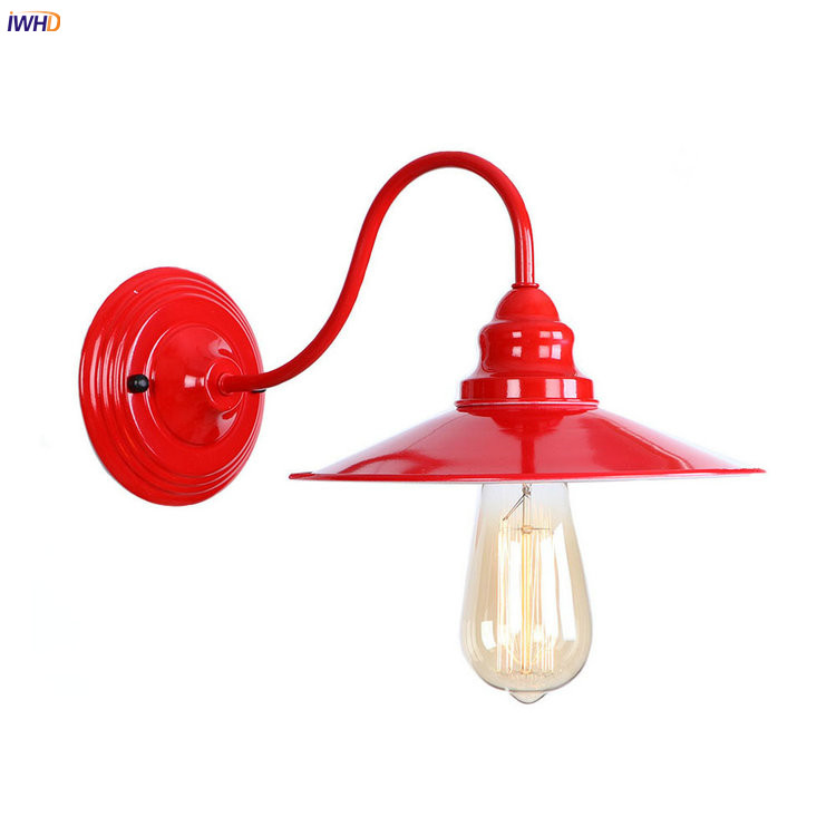 IWHD Loft Style Retro LED Wall Light Fixtures Bedroom Living Room Red Metal Vintage Wall ...