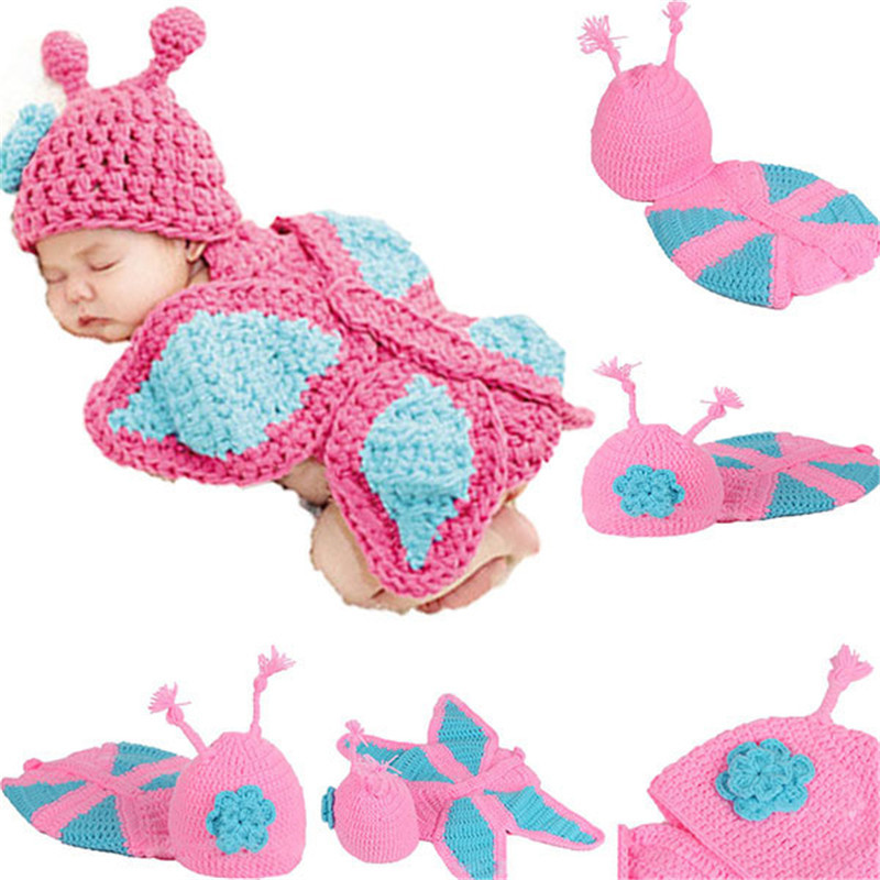 Baby Butterfly Hat Cape Set Costume Girl Newborns Photography Props Infant Crochet Animals Beanie Hat 1 set