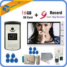 9 인치 비디오 도어 폰 인터콤 시스템 1 모니터 + RFID 액세스 IR 700TVL 카메라 + 전기 잠금 장치 16GB 카드 비디오 녹화 추가