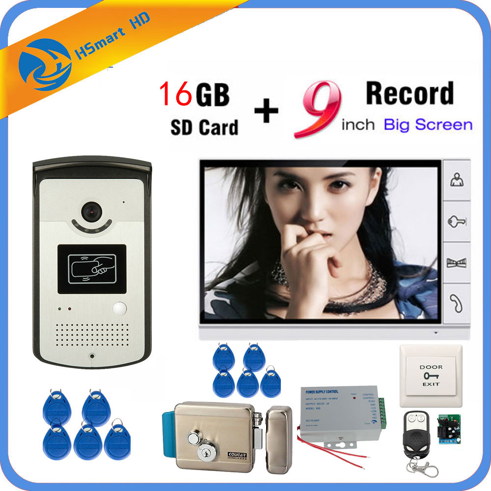 9 Inch Video Door Phone Intercom Entry System 1 Monitor + RFID Access IR 700TVL Camera+Electric Lock Add 16GB Card Video Record