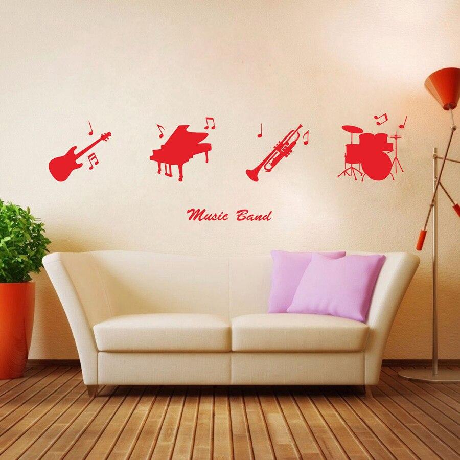 Cool Musik Band Musikinstrumente Gitarre Klavier Trompete Trommeln Vinyl Aufkleber