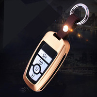 Car Styling 3D Aluminum Alloy Car Key Case Cover Holder Bag Rings Fits For Ford Mondeo