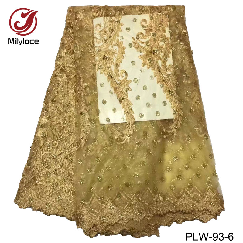 High quality embroidery African lace fabric tulle beaded net french lace nigerian lace fabric 5 yards